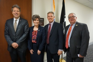 Rick Kleven, Thrivent Financial; Sen. Joni Ernst (R-IA); Don Nieland, Western Fraternal Life; Harald Borrmann, Catholic United Financial